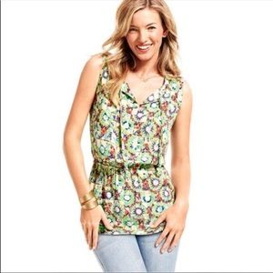 CAbi Kaleidoscope Top Sleeveless Tie Neck Shirt M